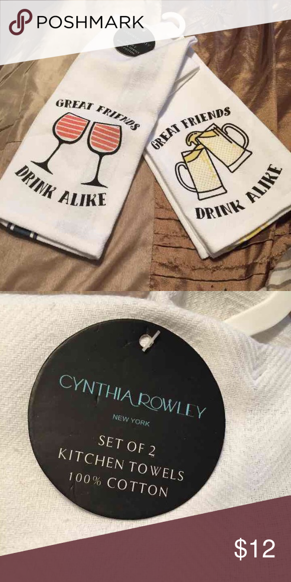 🍷Cynthia Rowley Kitchen Towels🍻 Brand New Set Of 2 Kitchen Towels From Cynthia  Rowley