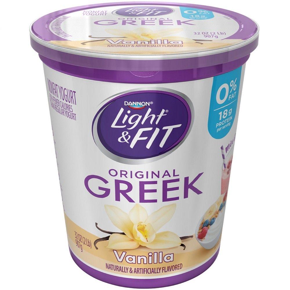 Dannon light and fit original vanilla flavored greek