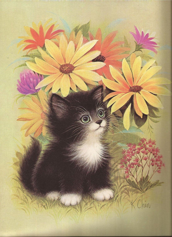 Items Similar To K Chin 12x9 Black And White Kitten Print On Etsy Cat Art Vintage Art Prints Animal Paintings