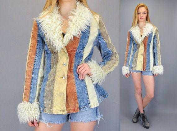 Vintage 90s Patchwork Coat Furry Collar Cuffs Boho Bohemian Sherpa Shearling Hippie Corduroy Denim Blue Jean Shaggy Faux Fur Vegan Jacket Festival by BlueFridayVintage