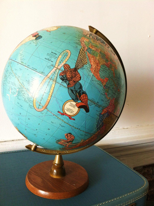 Vintage Superhero Globe. Custom Handcrafted Comic World Map. Marvel ...