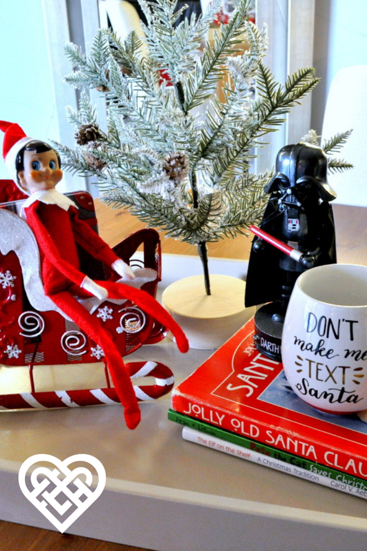A New Place For The Elf Get Inspired By Our Holiday Ottoman Trays And Coffee Table Trays We Are Love It Up Dec Tray Styling Coffee Table Styling Tray Holiday