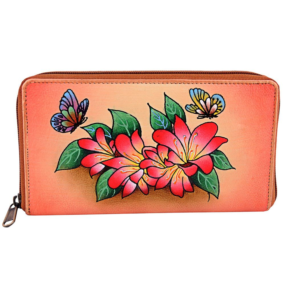 ZINT Hand Painted Genuine Leather Women s Wallet Floral Zip Around Multi-Color