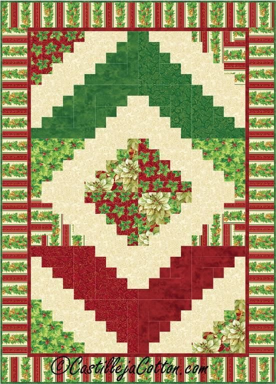 (7) Name: 'Quilting : Christmas Log Cabin Quilt Pattern 2418-7
