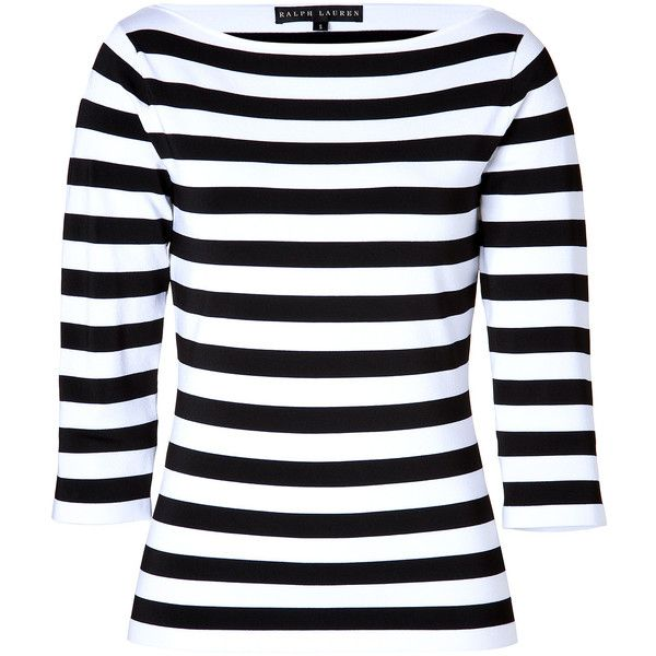 b4cbc1ab72 RALPH LAUREN BLACK LABEL Striped Boatneck Top in Black/White (34,680 INR) ❤  liked on Polyvore featuring tops, shirts, long sleeves, blusas, sweaters,  black ...