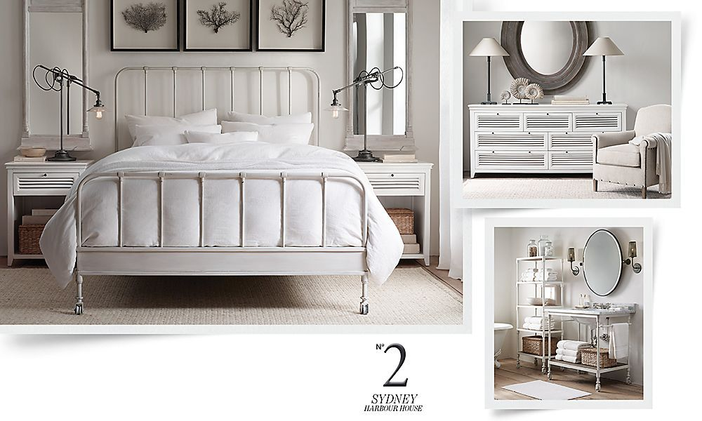 Restoration Hardware tall mirrors above night tables with trio of