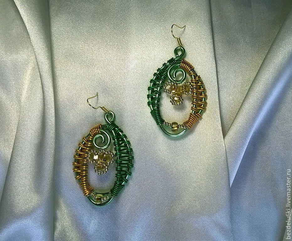 Купить Комплект Мимоза - зеленый, золотой, серьги ручной работы, мимоза, подарок на 8 марта