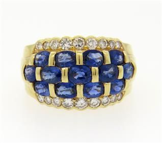 14K Gold Sapphire Diamond Dome Band Ring Featured in our upcoming auction on June 14!