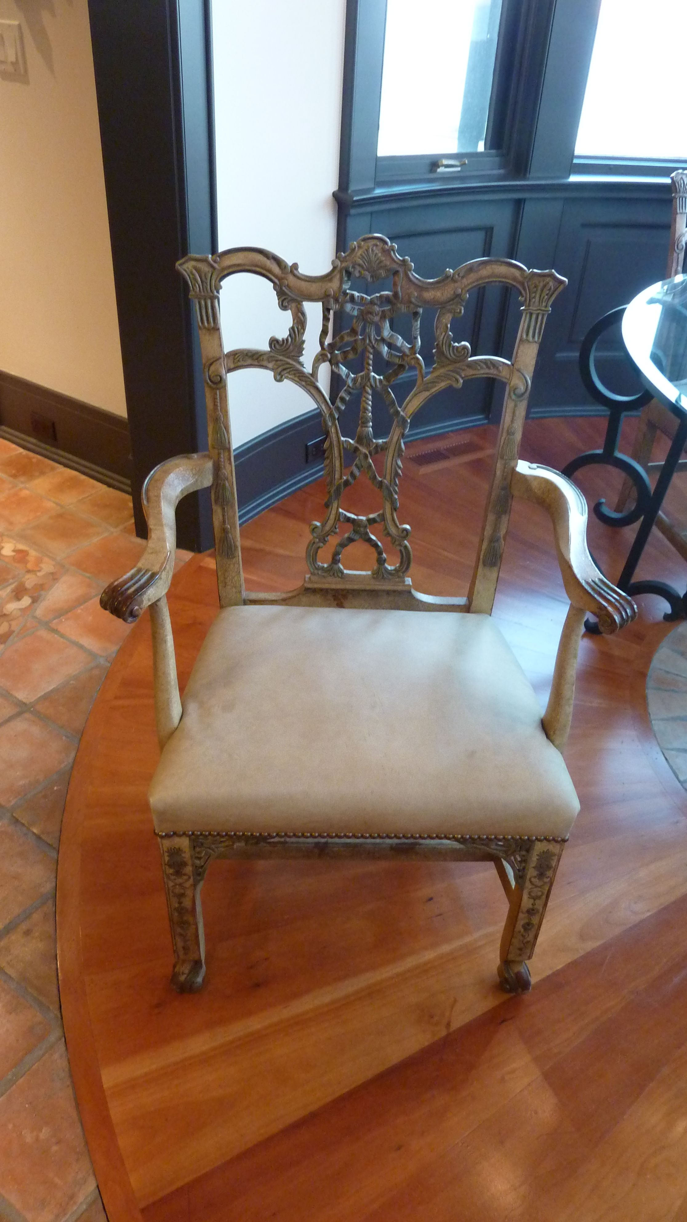 We Have 4 Of These In Light Green Leather Thomas O Brien Hickory Chair