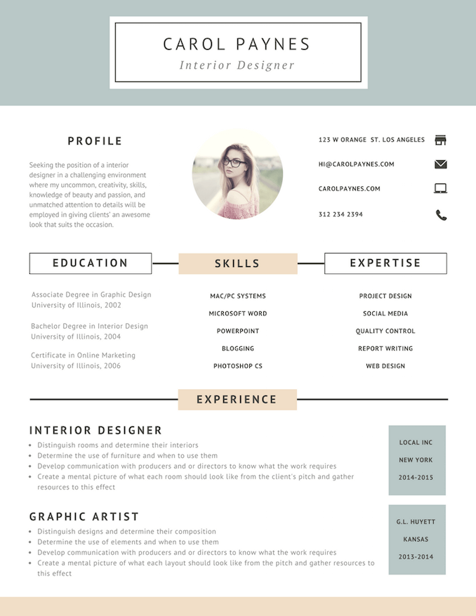 7 Resume Design Principles That Will Get You Hired In 2020 Interior Design Resume Resume Design Free Resume Design Creative