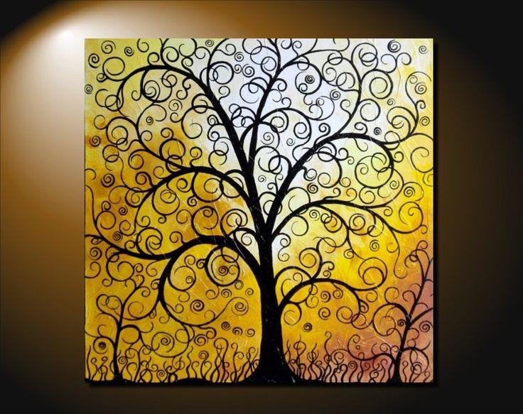 large abstract fantasy tree painting contemporary art canvas vivid