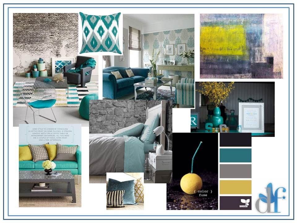 The Color Samples Yellow Decor Living Room Teal Living
