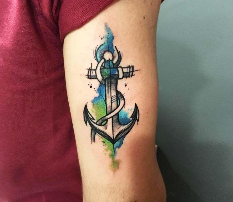 Anchor Tattoo By Gustavo Takazone Anchor Tattoo Design Anchor
