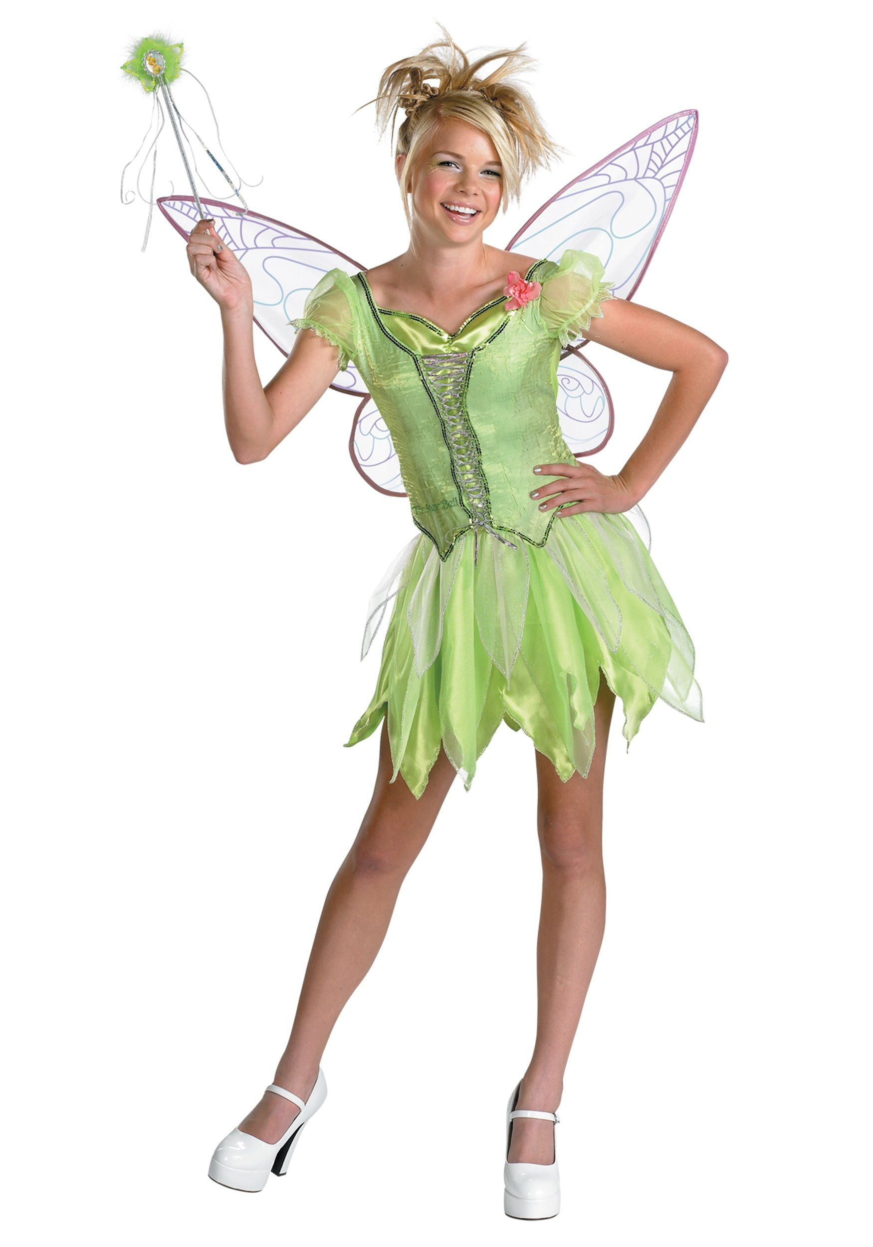 our teen tinkerbell costume is perfect for peter pan or fairy group costumes and is an officially licensed disney halloween costume