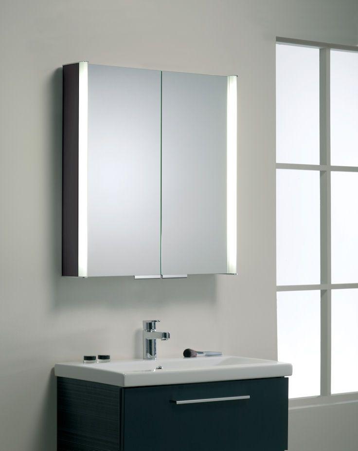 Summit double glass door cabinet has lights that illuminate both the