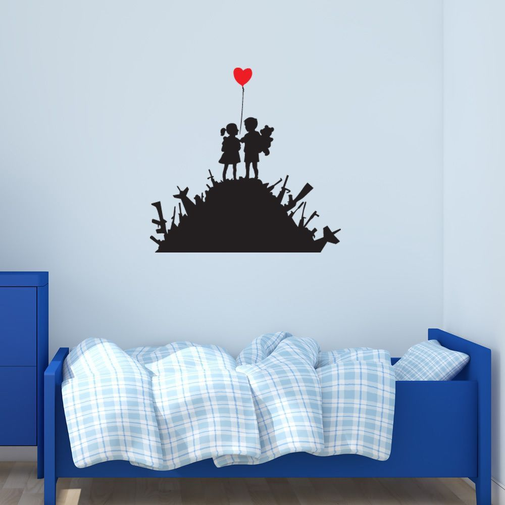 Style and Apply 'Kids on Guns' Banksy Vinyl Wall Decal Sticker Mural Art Home Decor