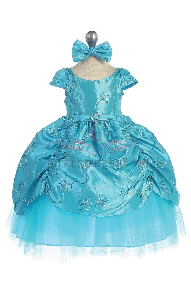 7f588b3003 Turquoise Baby Cinderella Flower Girl Dress with Cap Sleeves CB-596-TQ CB- 596-TQ  50.95 on www.GirlsDressLine.Com