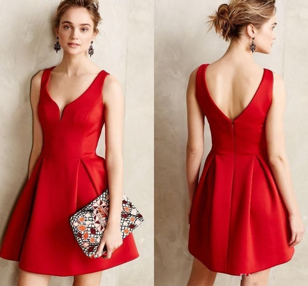 Causal Short Party Dresses Red A Line Short Prom Dresses For Wedding