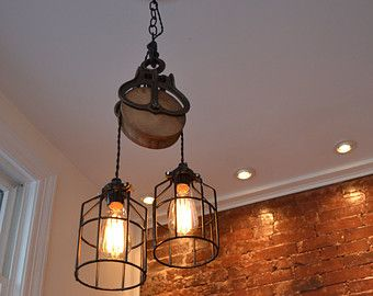 Wood And Steel Barn Pulley Light Edison Bulbs Sold Seperately