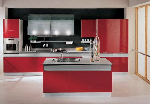 A Red Kitchen I Love Red In My Kitchenand This One Is Awesome Classy Kitchen Design Red And Black Design Ideas