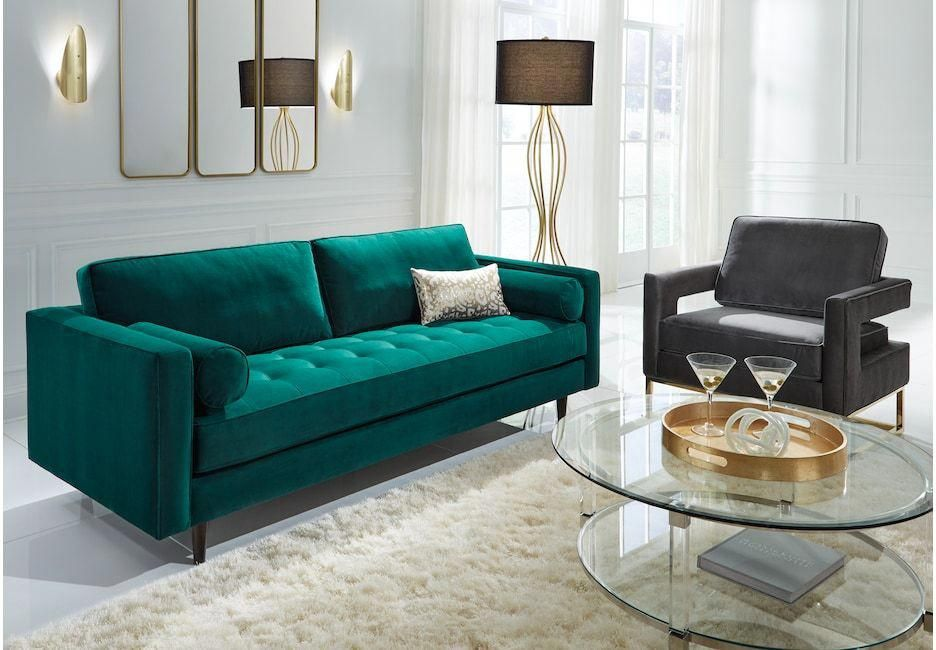 Sofia Vergara Pacific Palisades Emerald Plush 2 Pc Living Room Livingroomhomedecor Living Room Sets Affordable Living Room Set Room Set