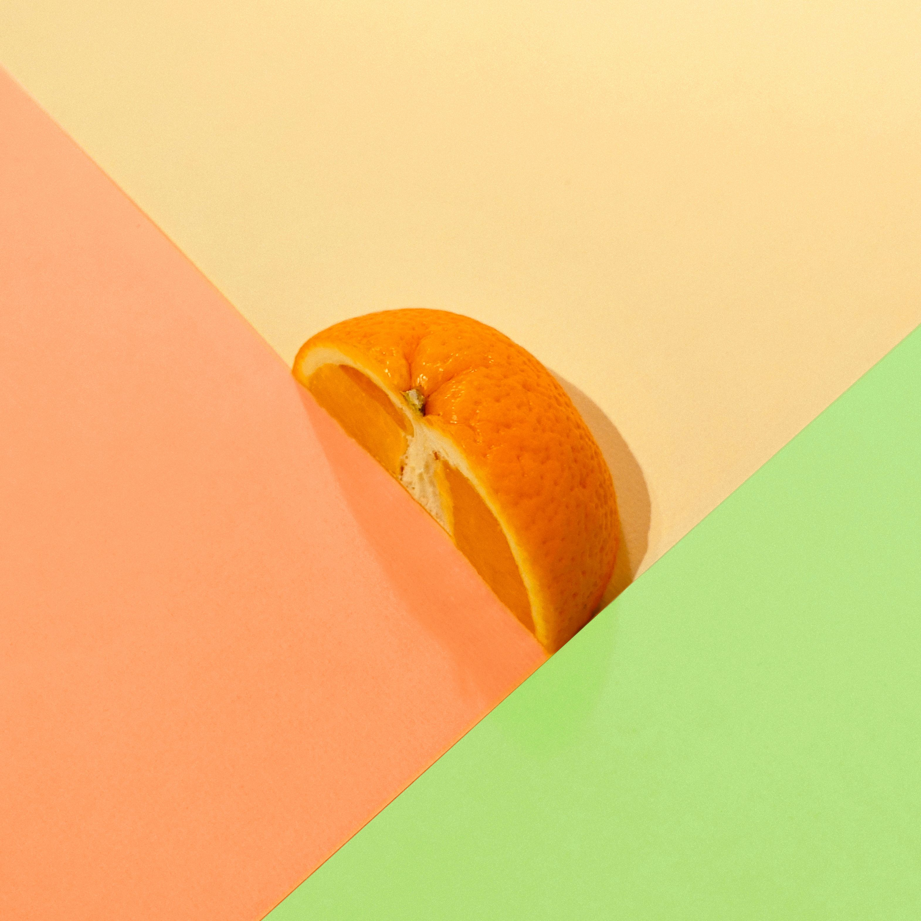 Food Photography Cover Art Coloured Paper Orange Fruit