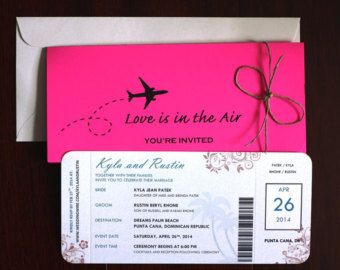 Destination Wedding / Airline Ticket Invitation  Airline Ticket Invitation