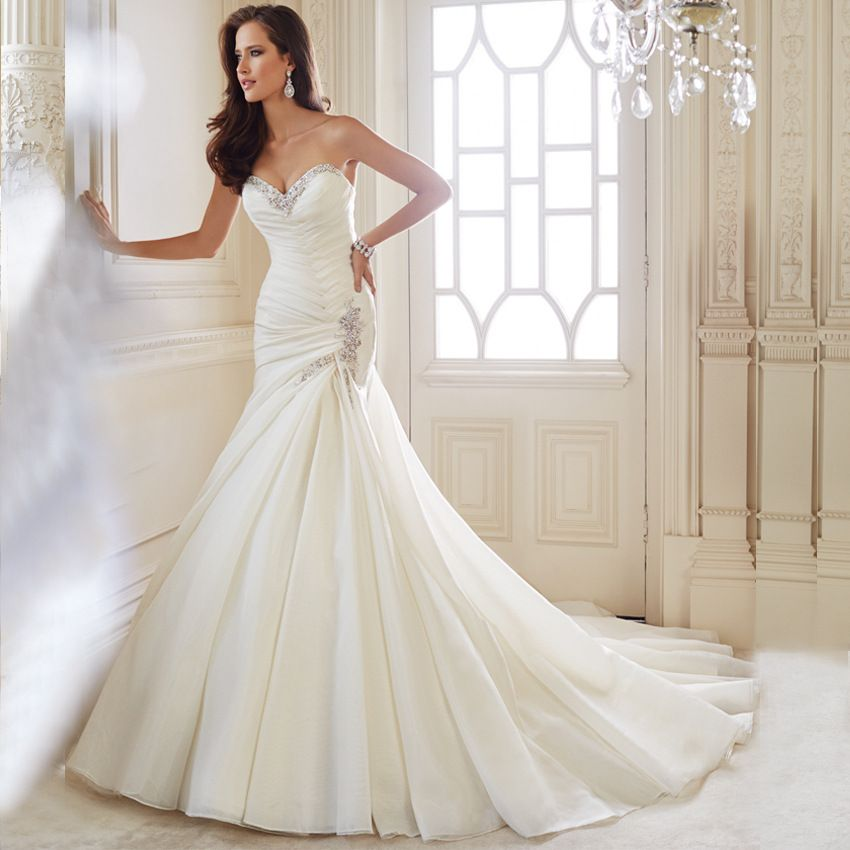 2019 的 Details About Mermaid Lace Up White Wedding Dresses
