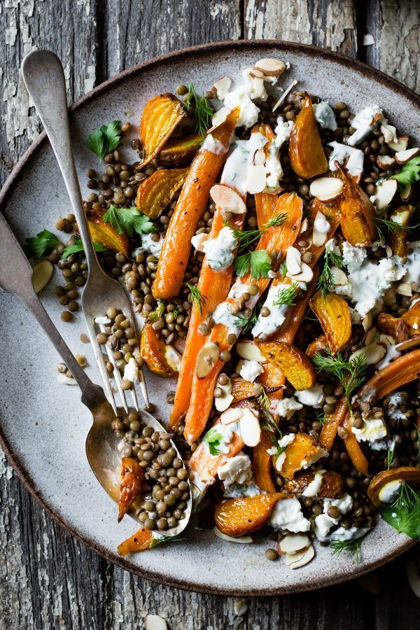 Photo of Fried beet and carrot lentil salad with feta, yoghurt and dill – Adela Marry