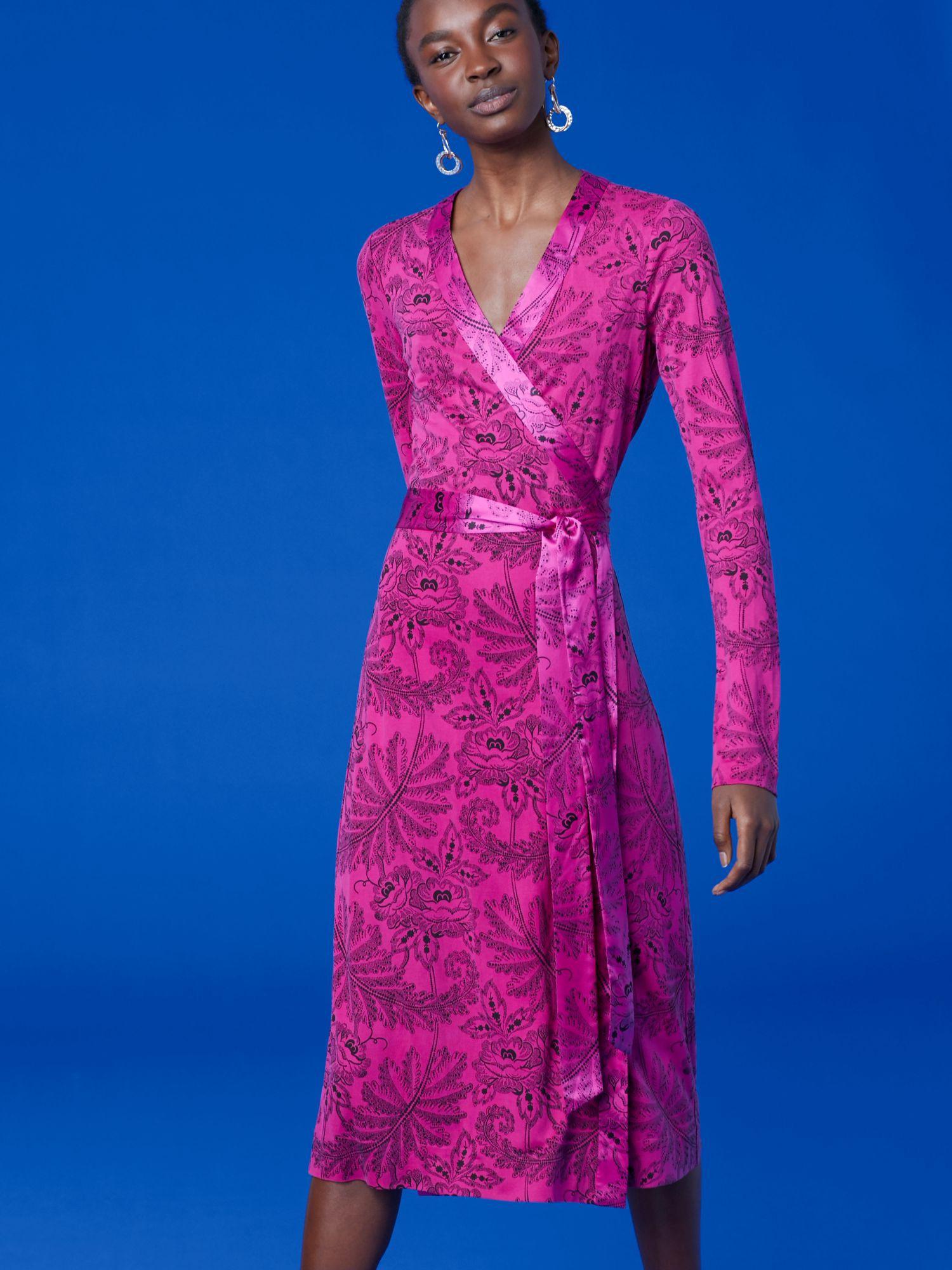 1d7b308ae8754 Diane Von Furstenberg Dvf Cybil Silk Jersey Banded Wrap Dress - Ullman  Ribbon Pink 12