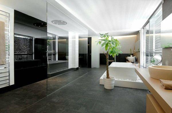 Minimalistisches Badezimmer Schwarz Weiß
