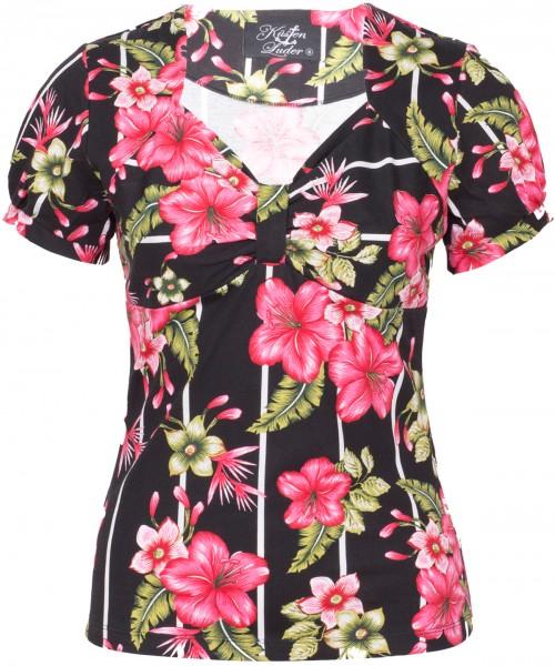 Küstenluder QUINCY 50s Floral ROSES Vintage GYPSY Kurzarm BLUSE Shirt Rockabilly