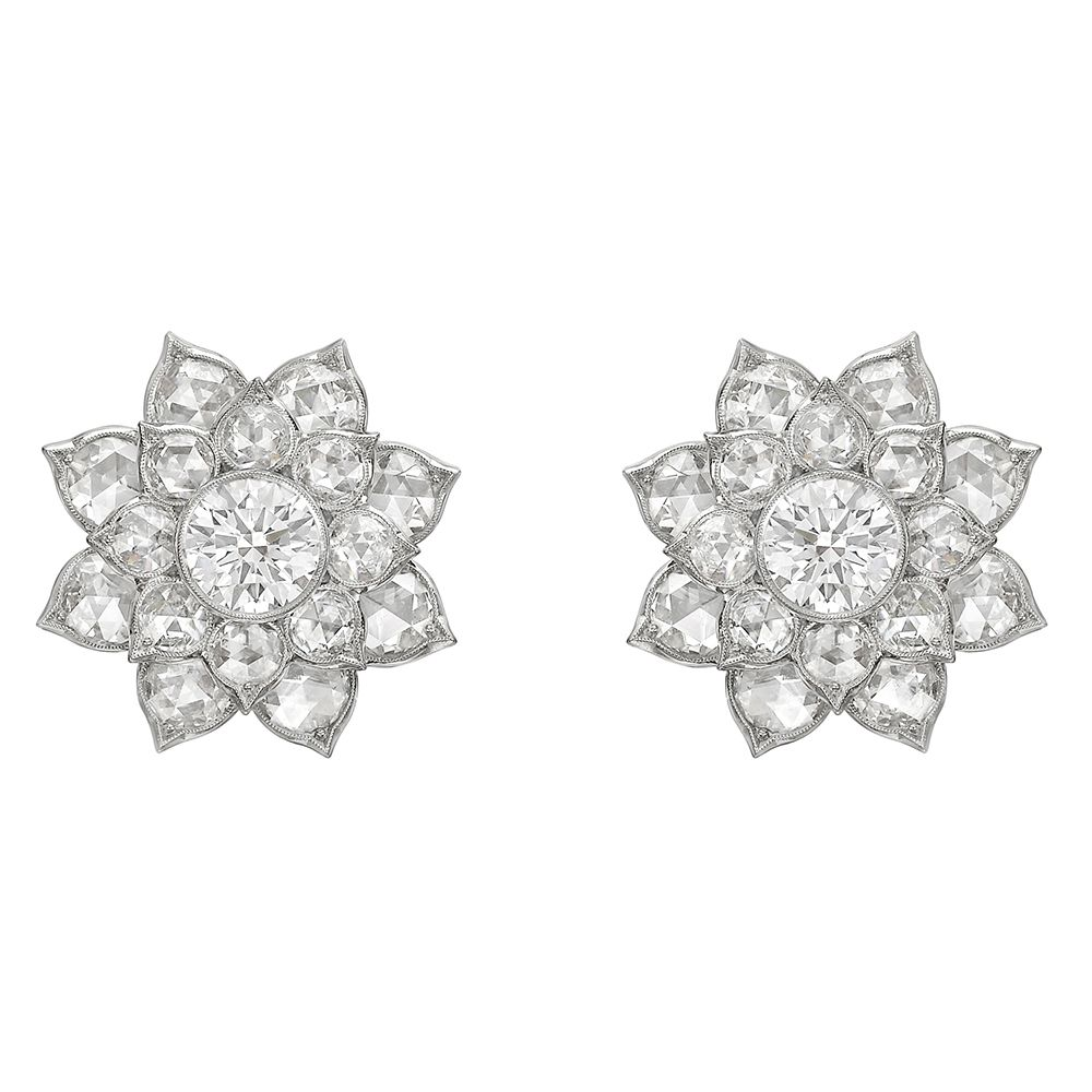 0daee18273884 Estate Betteridge Collection 'Lotus' Diamond Cluster Earrings ...