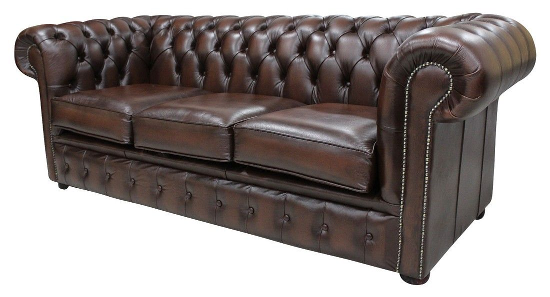 Antique Brown Leather Chesterfield