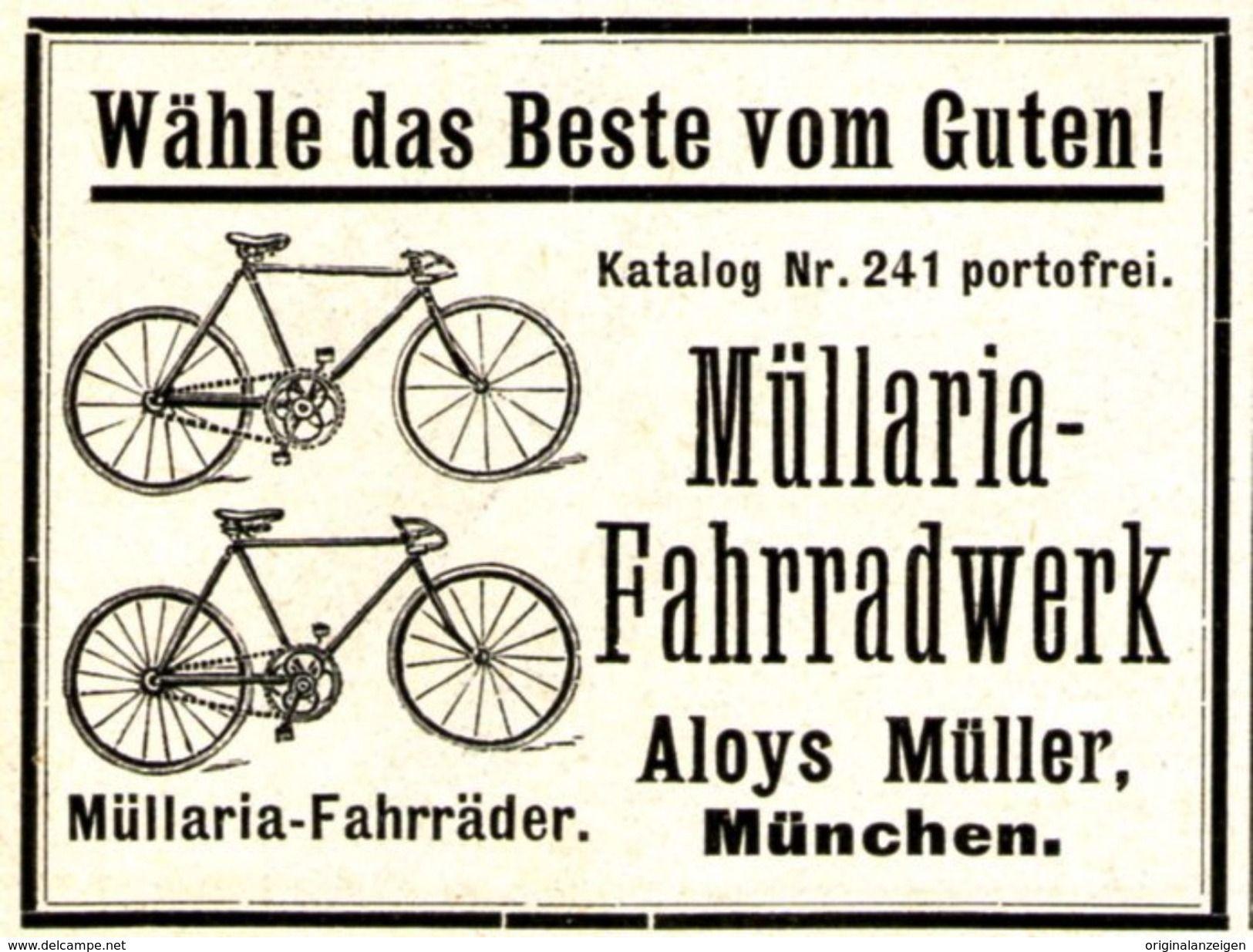Original Werbung Anzeige 1907 Mullaria Fahrradwerk Aloys