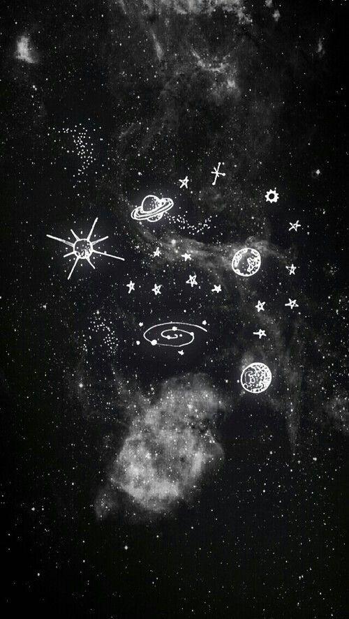 Night Black Ufo Moon Stars Wallpapers Wallpaper Iphone