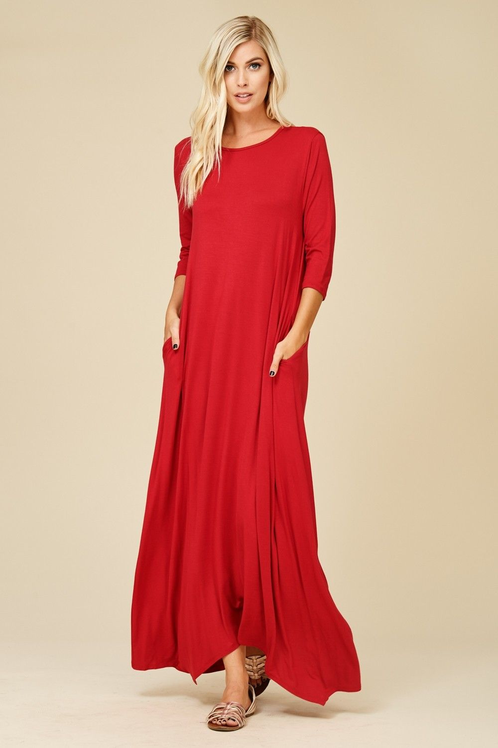 3 4 Sleeve Maxi Dress Style D5212 Knit Dress Featuring Solid 3 4 Sleeves Round Neck Side Pockets Maxi Dress R Maxi Dress With Sleeves Maxi Dress Dresses [ 1500 x 1000 Pixel ]