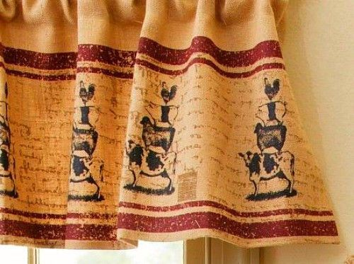 primitive country farmhouse chic burlap cow pig sheep chicken curtain valance
