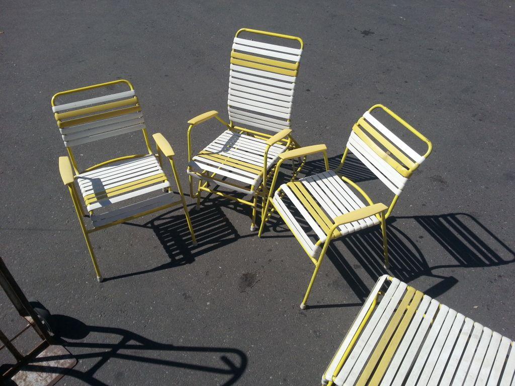 Vintage 60s 70s Metal Vinyl Strap Patio Lawn Chair Lounge