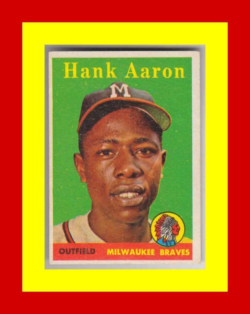 1958 topps 30 hank aaron ex hof yellow letter yl