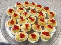 <3 Devilicious Deviled Eggs <3  Ingredients  7 large eggs, hard boiled and peeled 1/4 cup mayonnaise 1 1/2 tablespoons sweet pickle relish 1 teaspoon prepared mustard Salt and pepper, for taste Paprika, for garnishing Sweet gherkin pickles sliced, for garnishing Pimentos, for garnishing  Directions  Halve 7 eggs lengthwise. Remove yolks and place in a small bowl.  Mash yolks with a fork and stir in mayonnaise, pickle relish, and mustard. Add salt and pepper, to taste.  Fill egg whites evenly…