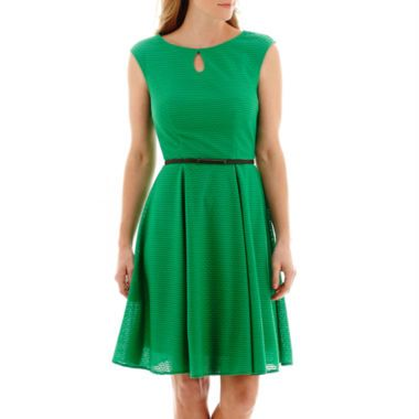 London Style Collection Cap-Sleeve Keyhole Fit-and-Flare Dress  found at @JCPenney