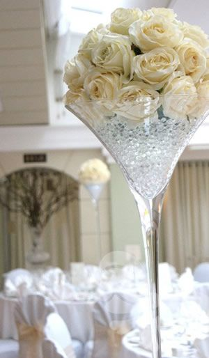 70cm martini vase with silk flowers and water crystals for Decoration vase martini