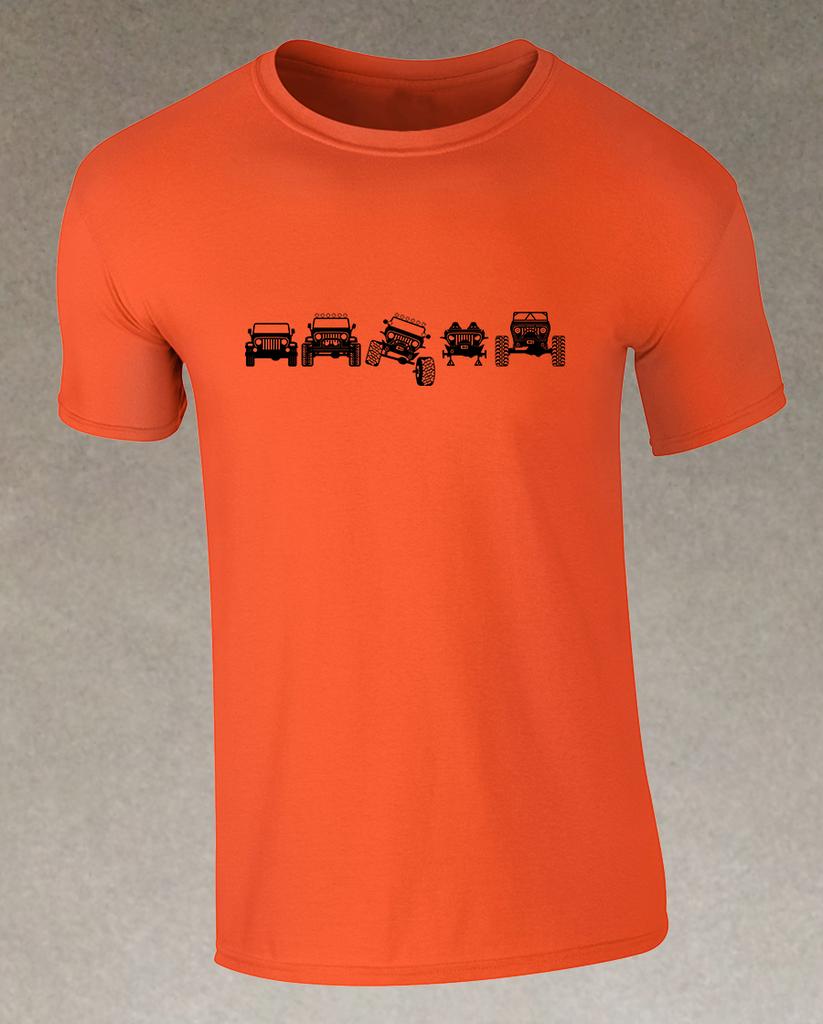 Evolution Of Trail Tj S Men S T Shirt Orange Itsajeepshirt