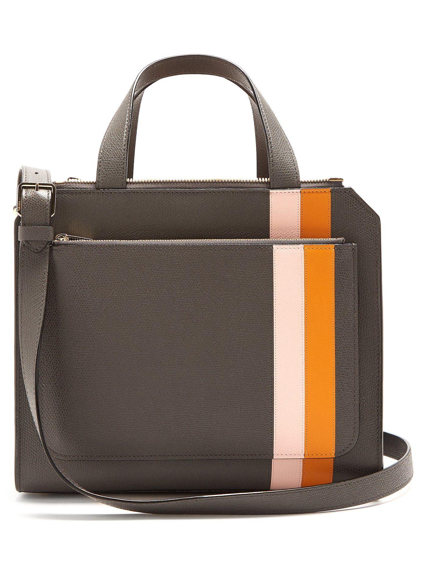 Passepartout medium striped leather bag Valextra RwhdAUS