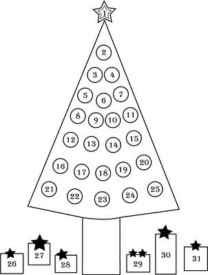 Christmas Countdown Coloring Page