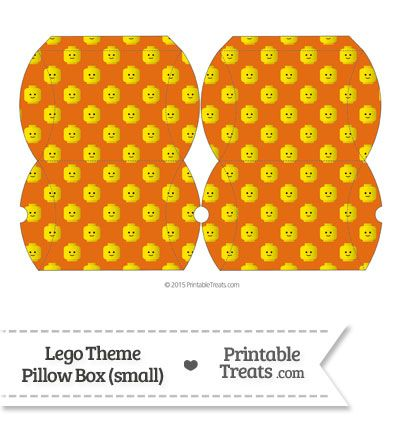 Small Orange Lego Theme Pillow Box from PrintableTreats.com