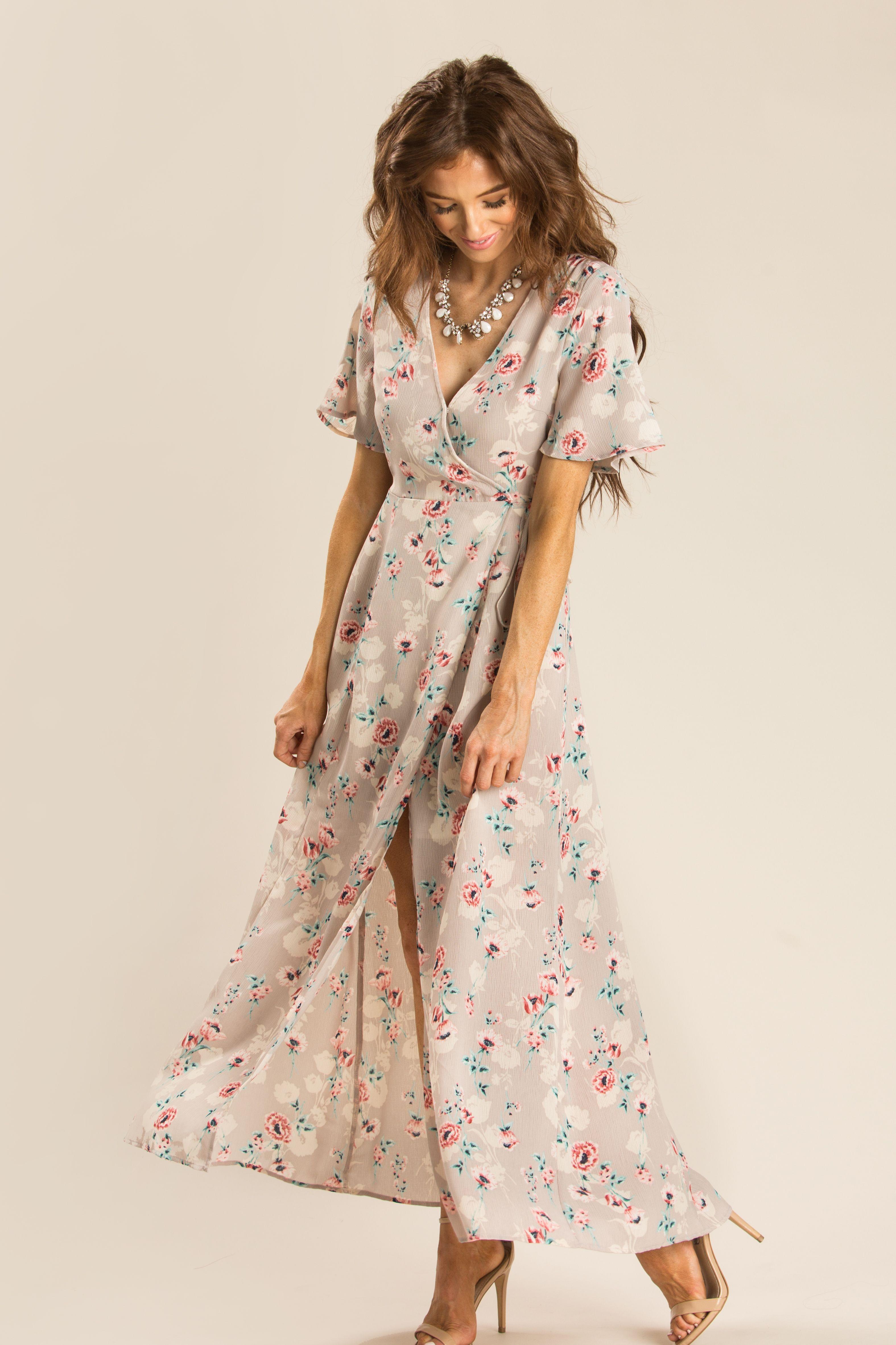 3abae87f88f7e Jennie Taupe Floral Wrap Dress Flowy Bridesmaid Dresses, Taupe Wedding, Taupe  Dress, Wedding