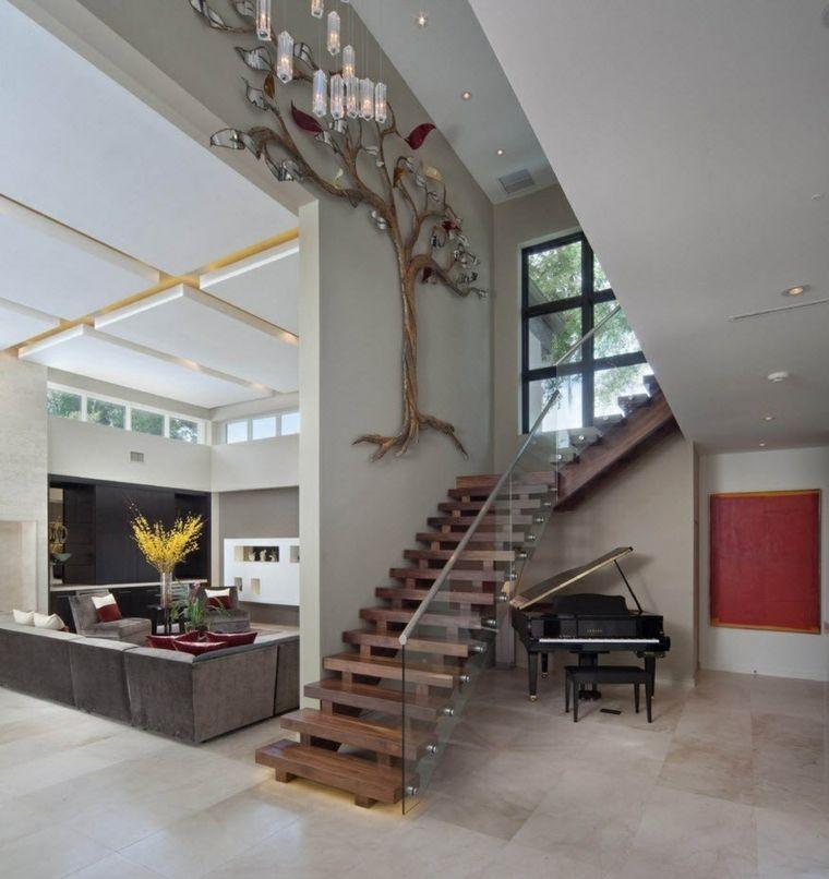 Escaleras de interior modernas 40 ideas para elevar el - Decorar escaleras interiores ...
