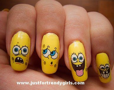 Spongebob nail art from httpjustfortrendygirls201109 spongebob nail art from httpjustfortrendygirls2011 prinsesfo Image collections